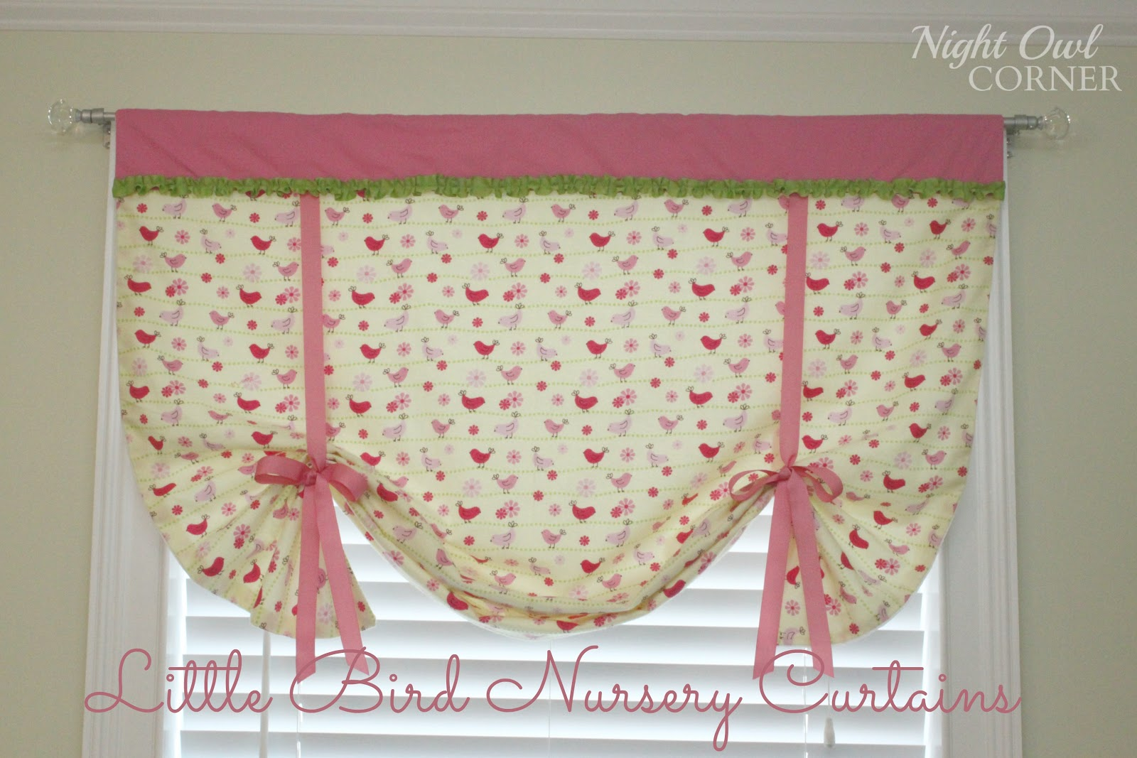 Night owl corner little bird nursery curtains for Curtain fabric for baby nursery