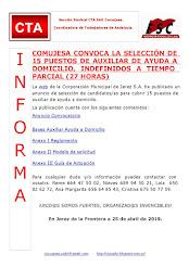 COMUJESA CONVOCA LA SELECCIÓN DE 15 PUESTOS DE AUXILIAR DE AYUDA A DOMICILIO, INDEFINIDOS A TIEMPO