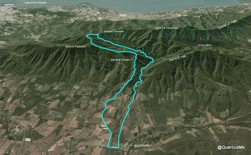 Ruta La Cañada - Sierra el Tecuán - Sierra el Travesaño - Barranca el Tecuán - La Cañada