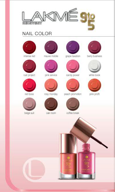 Lakme 9 to 5 Office Stylist Range Nail Paints - All Shades Chart