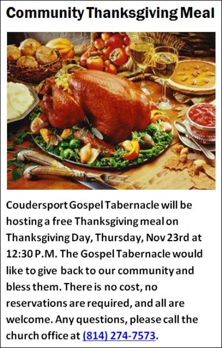 11-23 Free Thanksgiving Dinner, Coudersport