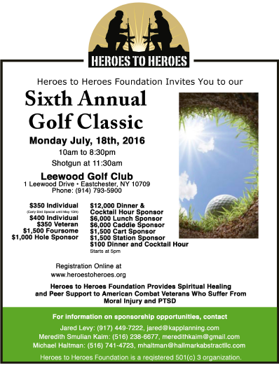 Heroes To Heroes Foundation 6th Annual Golf Outing On July 18, 2016 Near NYC!