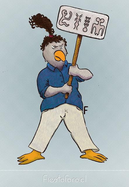 Hombre pájaro rapanui sosteniendo un cartel con signos de las tablillas rongorongo