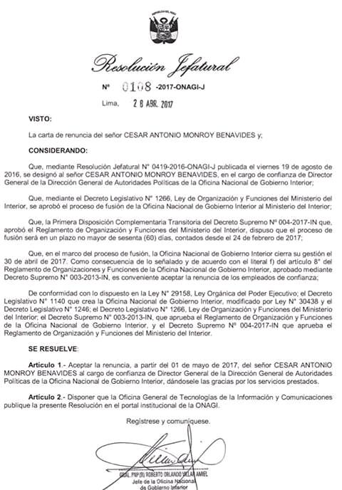 RESOLUCION DE DESTITUCION DE CESAR MONROY BENAVIDES