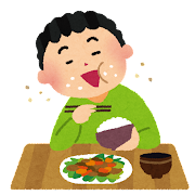 行儀の悪い食事のイラスト(テーブルマナー)