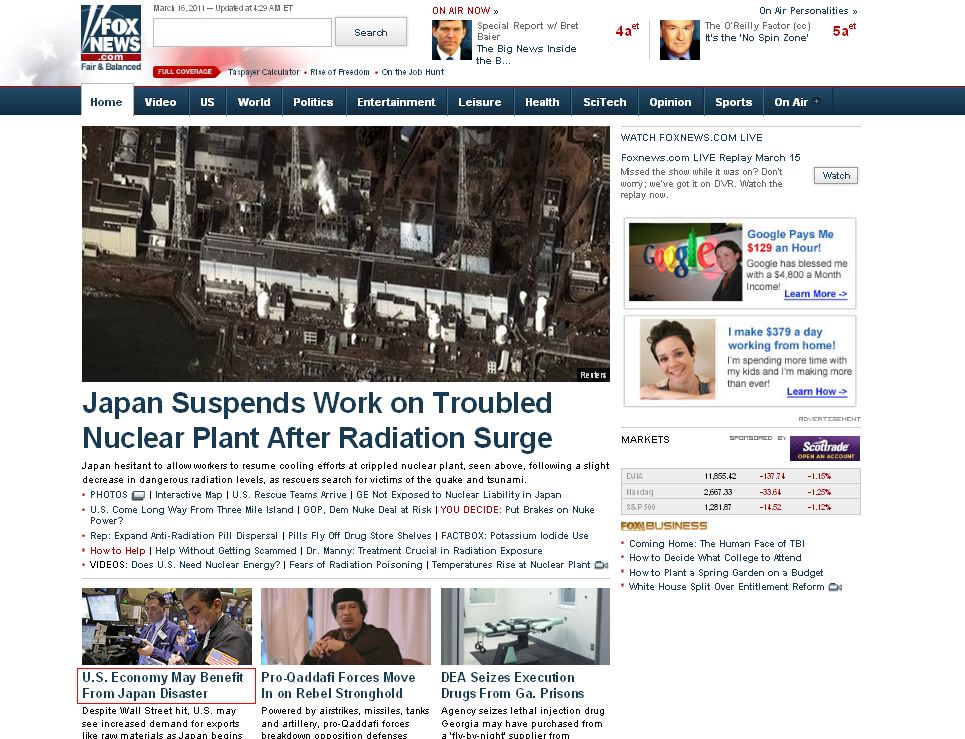 Fox News - U.S. Economy May Benefit From Japan Earthquake Disaster ...