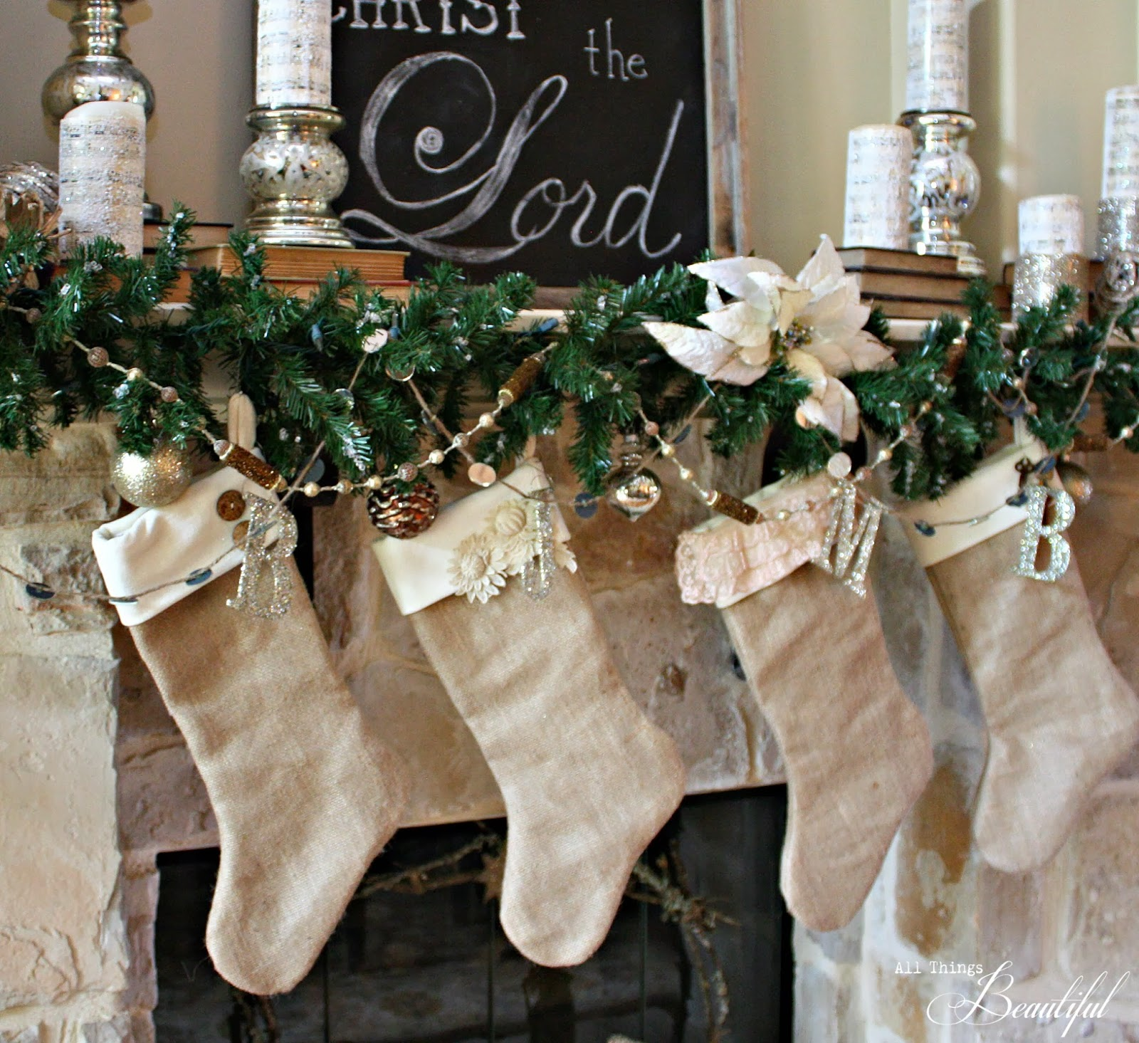 Burlap Stockings Part - 45: I Decided On The Ever So Popular Burlap And The Luscious Velvet.