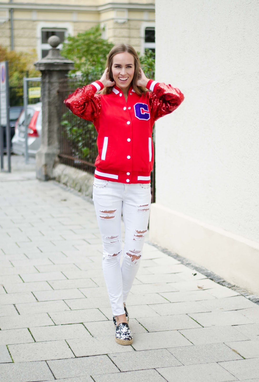 kristjaana mere red sequin bomber jacket white ripped jeans