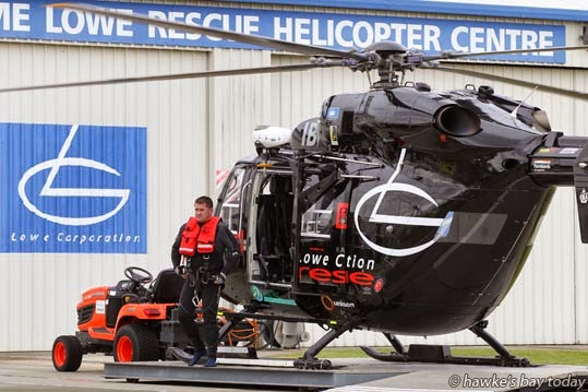 The Lowe Corporation Rescue Helicopter arrives back at the Hawke's Bay Hospital, Hastings, after a mission to a boating incident near Mahia. photograph