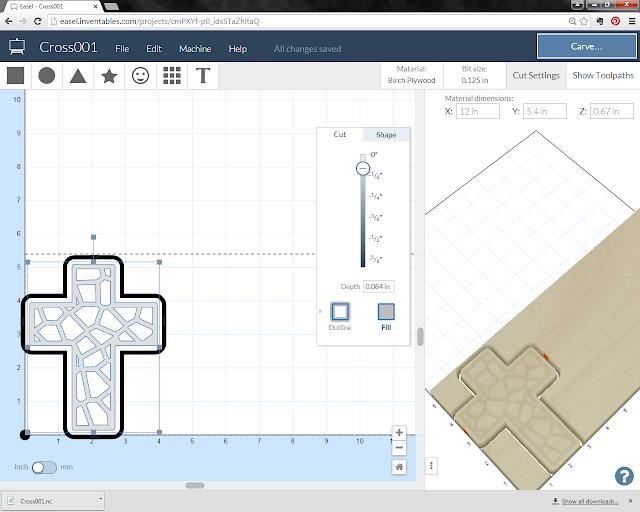screenshot of voronoi cross magnet setup in Inventables easel software