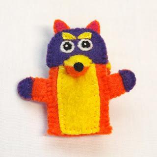 Swiper felt finger puppet, handmade by Joanne Rich