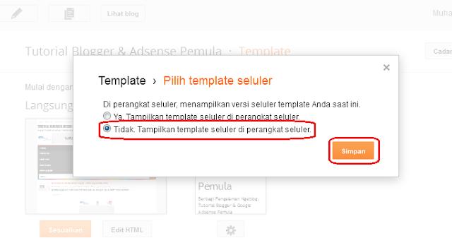 cara menonaktifkan tampilan versi seluler blog di blogger