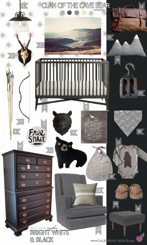 Clan of the Cave Bear || on California Peach || Nursery Baby Room Interior Design Style Board