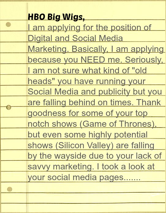 Epic Cover Letter Ever Hbo Cover Letter For Social Media Job Opening