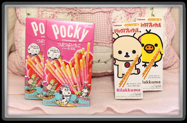 Candysan Japanese Candy Haul Review japan food kabaya rilakkuma pretzels bretzels Glico Pocky Strawberry Heartful