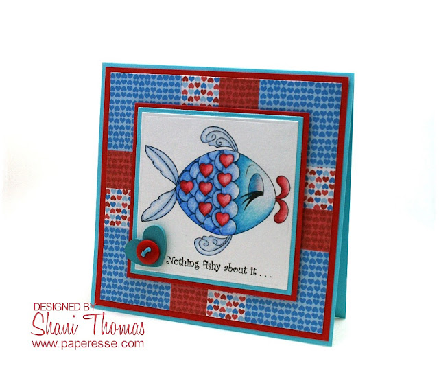 A 'Fishy' Valentine's day card with Lovely Fish Digital Delights digistamp, by Paperesse.