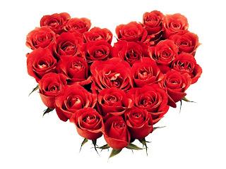 Corazón de rosas para el día del amor y la amistad