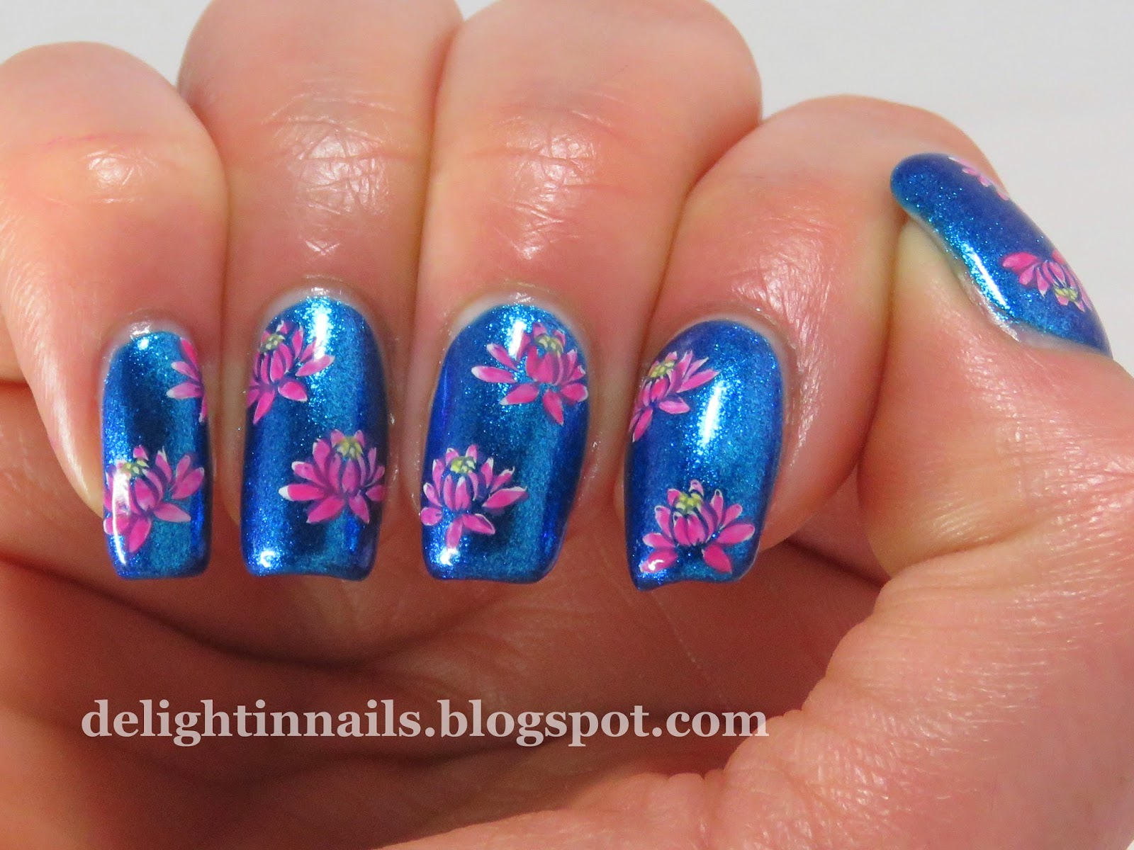 Delight in nails lotus nailart over butter london airy fairy lotus nailart over butter london airy fairy dhlflorist Image collections