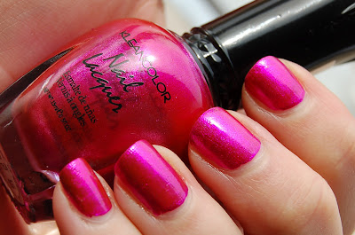 Kleancolor Metallic Pink, a gorgeous pink metallic shimmer nail polish with small silver particles