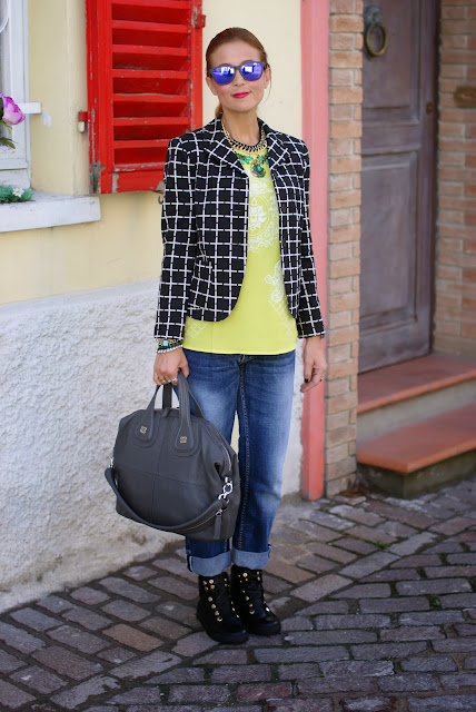 Check blazer, Givenchy Nightingale, Bruno Bordese sneakers, Fashion and Cookies, fashion blogger