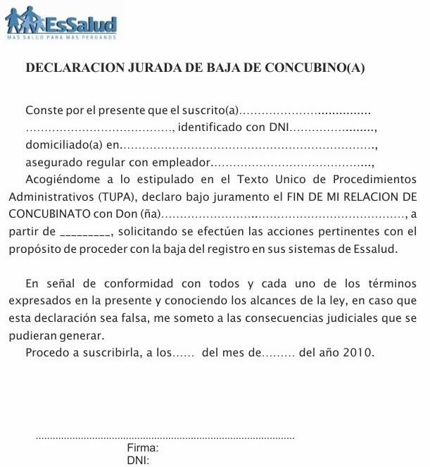 TRAMITES Y REQUISITOS PARA ESSALUD: MODELO DE BAJA DE CONCUBINATO