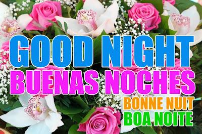 Buenas Noches en cuatro idiomas diferentes; Inglés, Español, Francés y Portugués