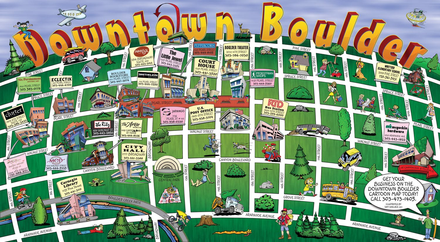 SAW Toons Downtown Boullder Cartoon Map