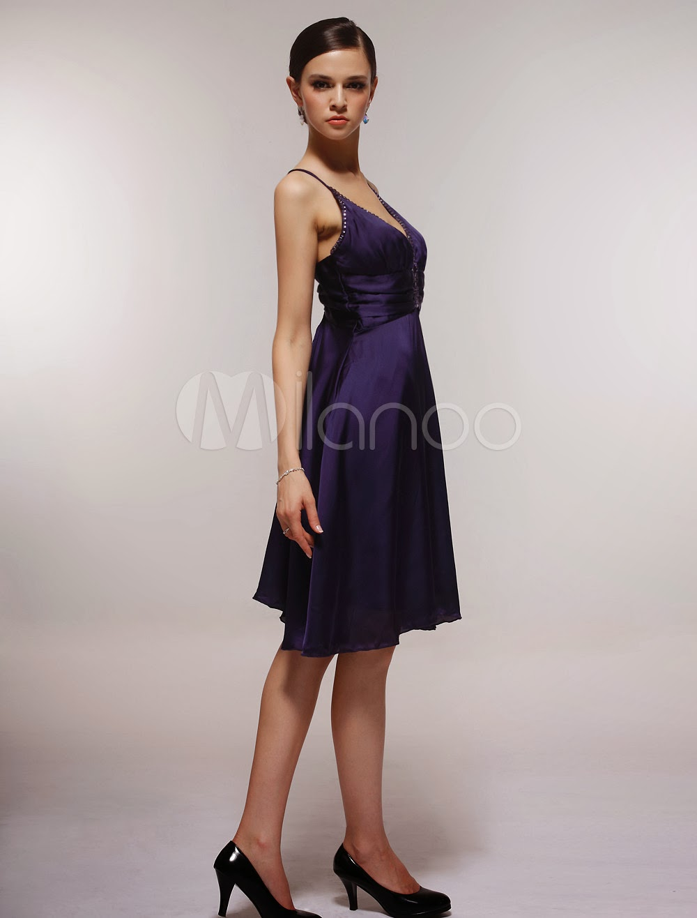 China Wholesale Dresses - Sexy Satin Gauze V-neck Spaghetti Straps Knee-length Graduation Dress