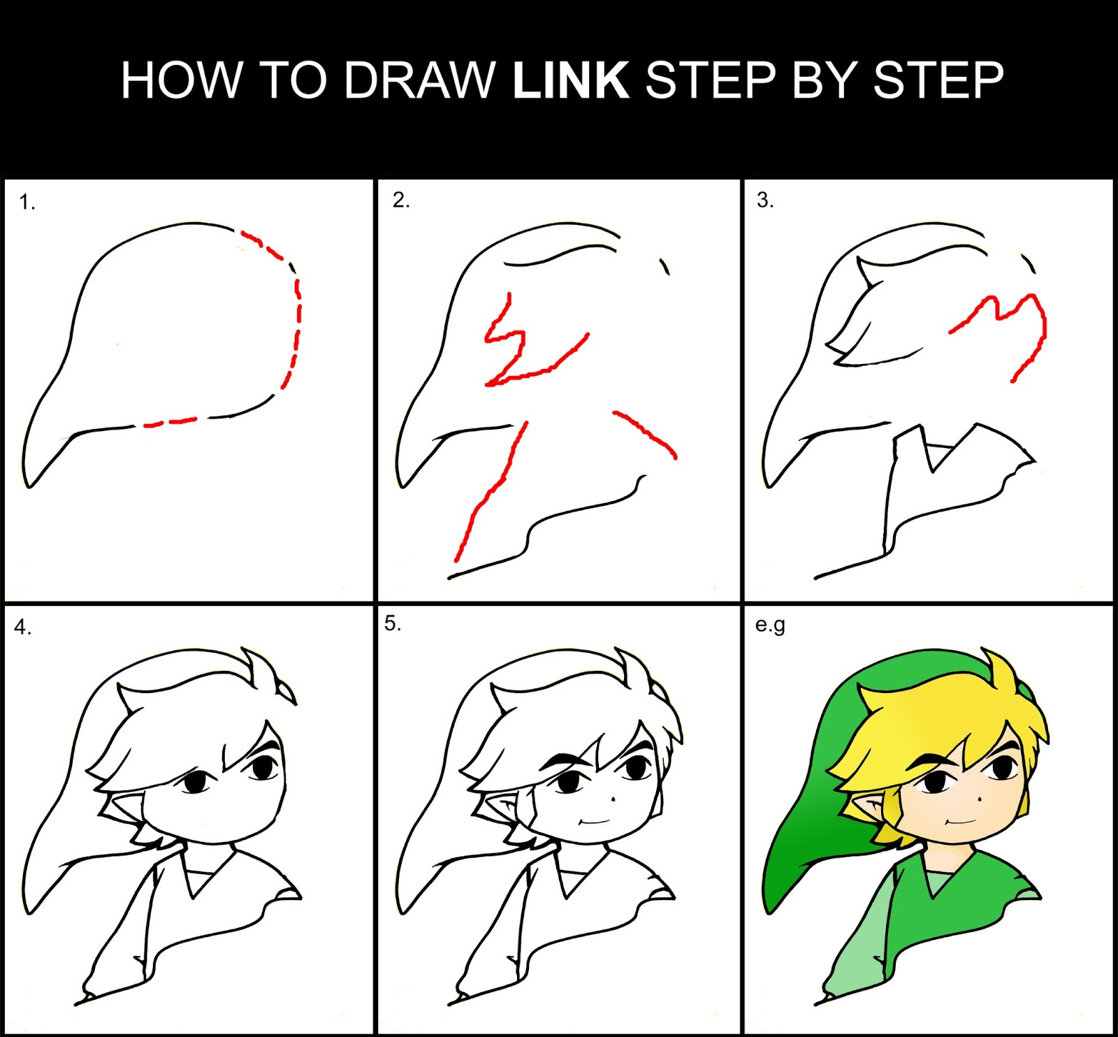 Daryl Hobson Artwork: How To Draw Link Step By Step Drawing Guide
