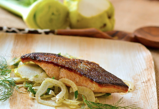 Pescetarian Journal: Sear-Roasted Keta Salmon with Fennel-Pear Salad #AlaskaSeafood