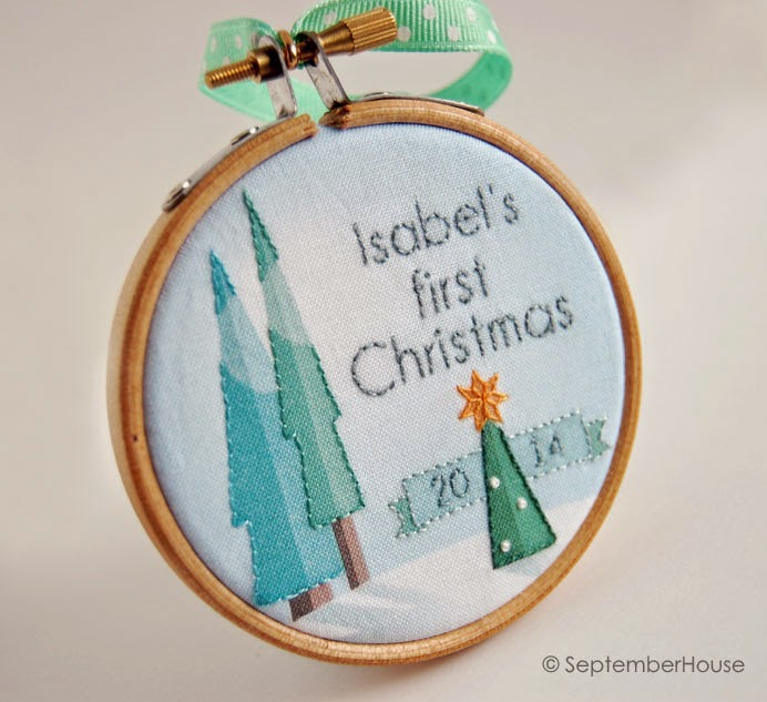 Baby's First Christmas Ornament modern forest design Handmade personalized