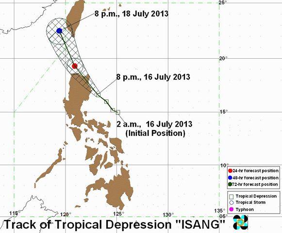 track of bagyong isang july 16-18, 2013