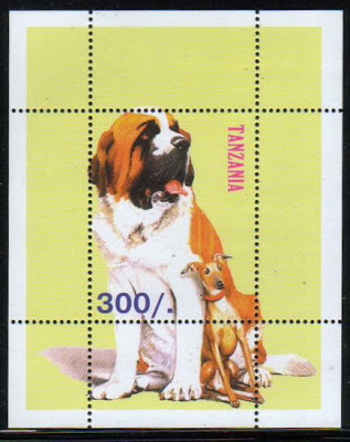 年度不明タンザニア連合共和国 セント・バーナードとイタリアン・グレーハウンドの切手シート