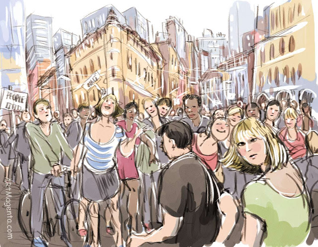 Occupy Wall Street is a drawing by aritst and illustrator Artmagenta