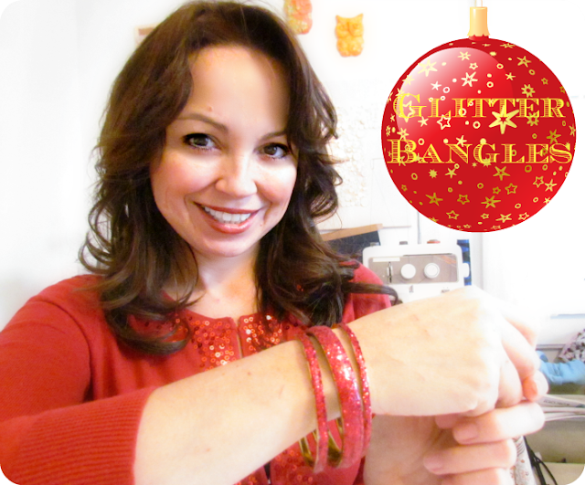 Glitter Bangles, DIY Glitter Bracelet, How to make bracelets with glitter, Christmas jewellery