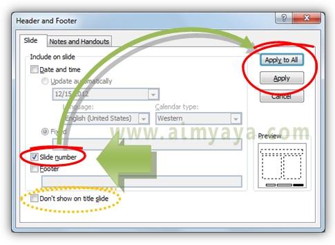 Gambar:  Cara mengatur penampilkan  nomor slide presentasi