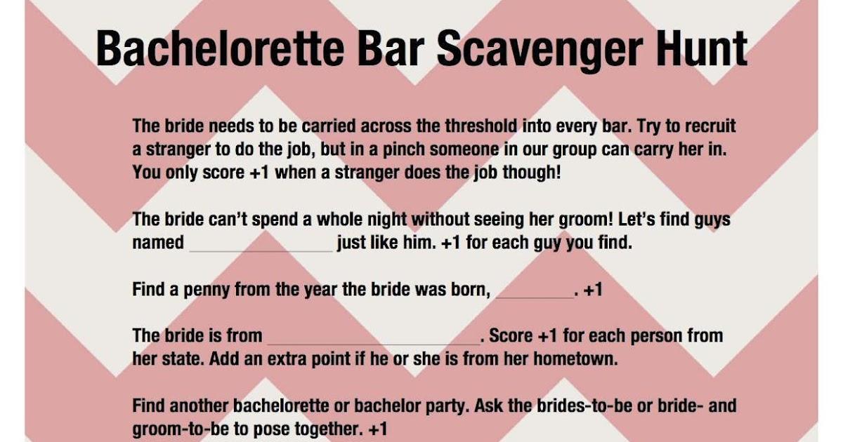 Clean Bachelorette Scavenger Hunt