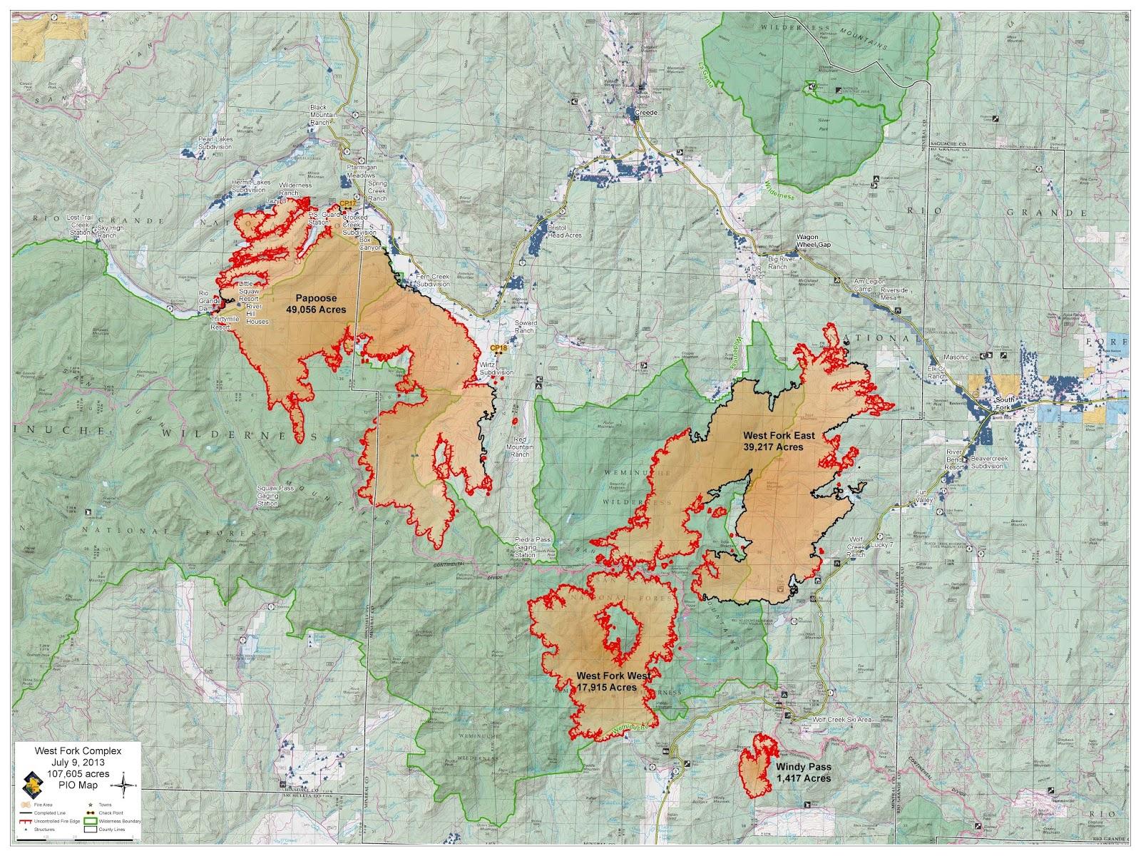 West Fork Fire Complex: Fire Maps