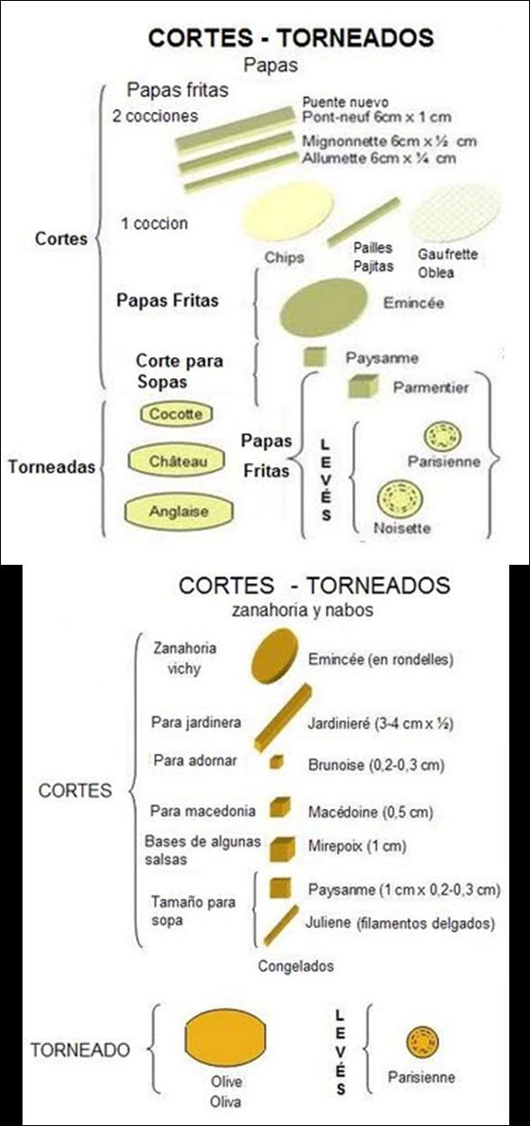 Cocina basica corte de verduras papas y frutas for Cortes de verduras gastronomia pdf