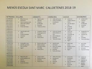 MENÚS CURS 2018 - 2019