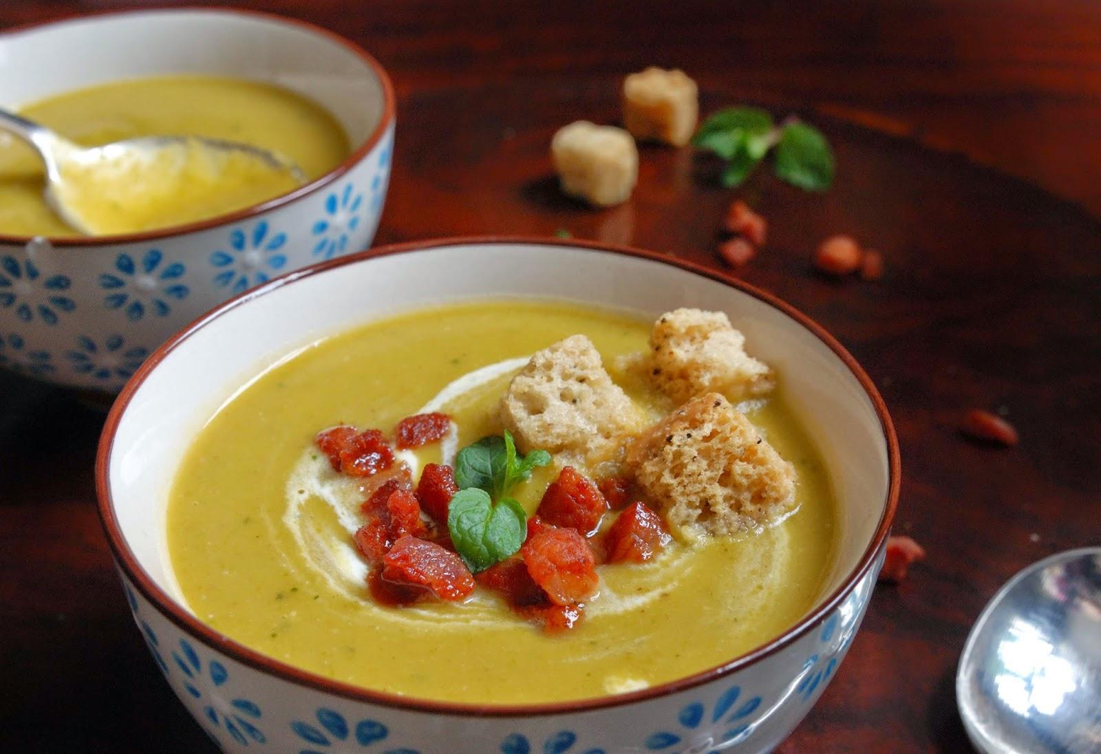recette soupe de pois au lard et à la menthe