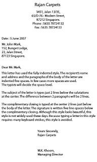 Semi Block Letter Format Example