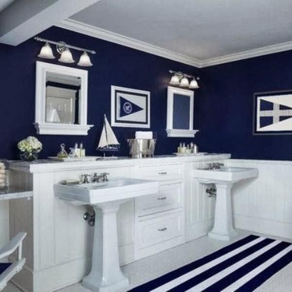Decoracion De Baños Azules:Azul marino, elegante, un color profundo que inspira el mar y los