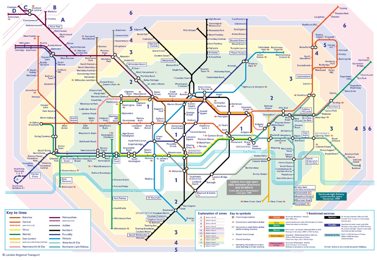 London Tube Map Zones