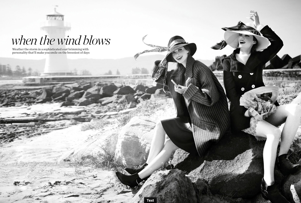 Caitlin & Rhianna in When the wind blows / Marie Claire Australia July 2013 (photography: Corrie Bond, styling: Kate Darvill) via fashioned by love britiish fashion blog
