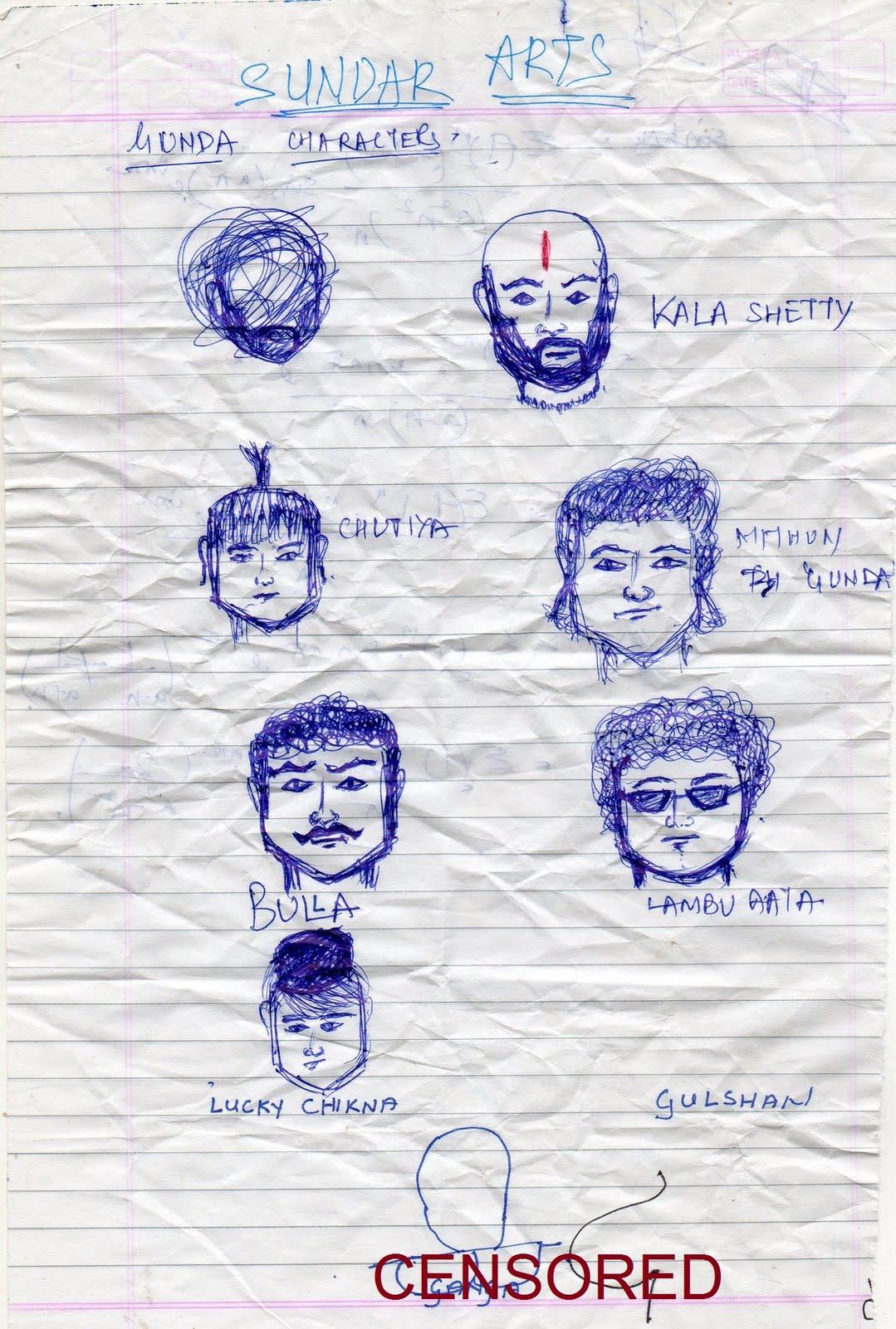 Gunda characters sketch