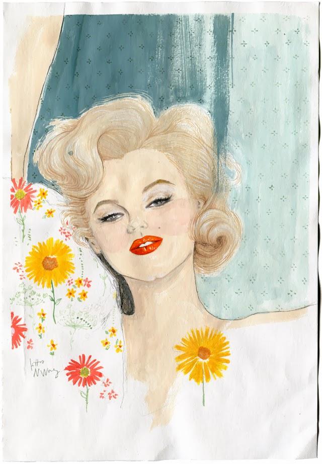 Kitty N. Wong / Marilyn Monroe Gouache Portrait Painting