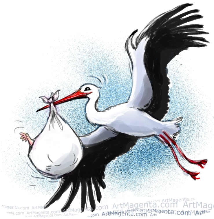 Stork with newborn by Artmagenta