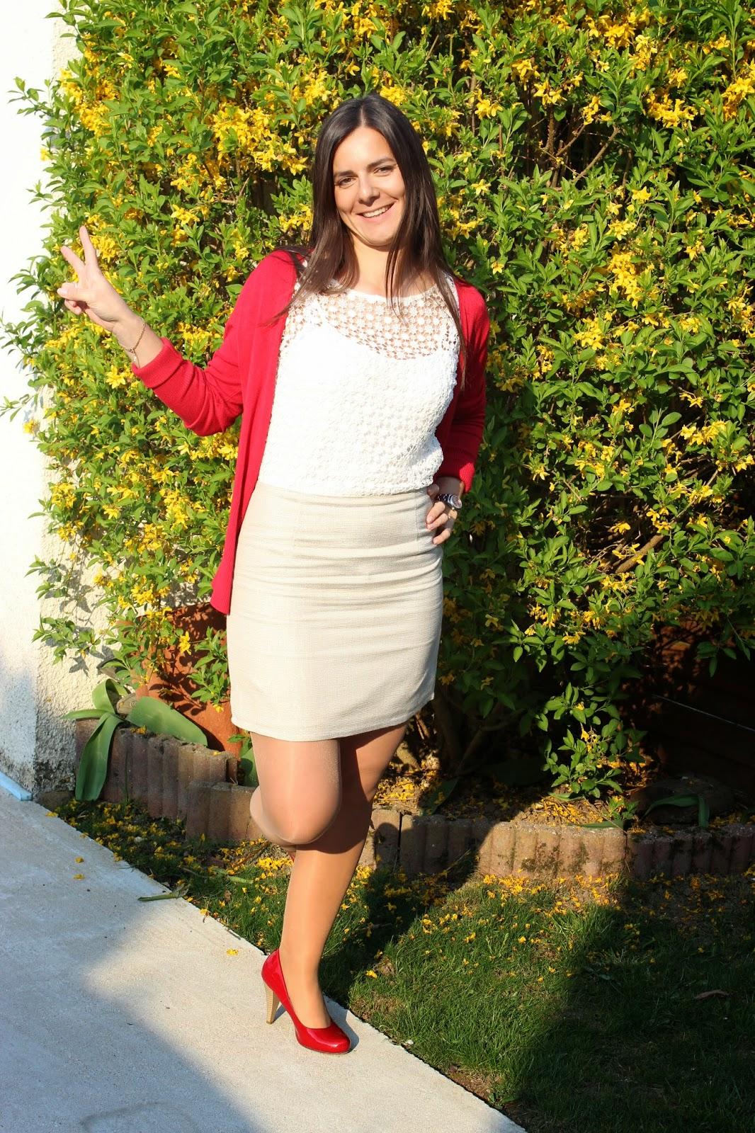robe bi matière naf naf, escarpins rouges