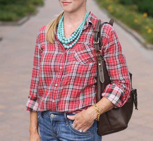sandra shirt, hobo bag, humble chic necklace